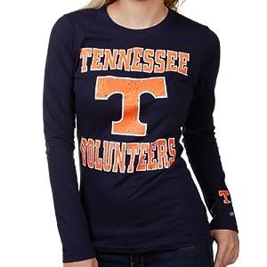 NCAA Tennessee Volunteers Ladies Navy Blue Distressed University Logo Long Sleeve T-Shirt (Large)