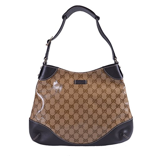 Gucci Women's Brown Leather Trimmed Guccissima Print Hobo Shoulder Bag Handbag