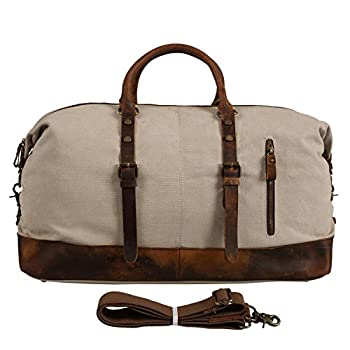 Polare Large Modern Sports Canvas Real Leather Travelling Gym Bag Weekend Bag