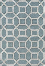 Blue Modern Rug 6-foot x 9-foot Wool Handmade Geometric Honeycomb Carpet