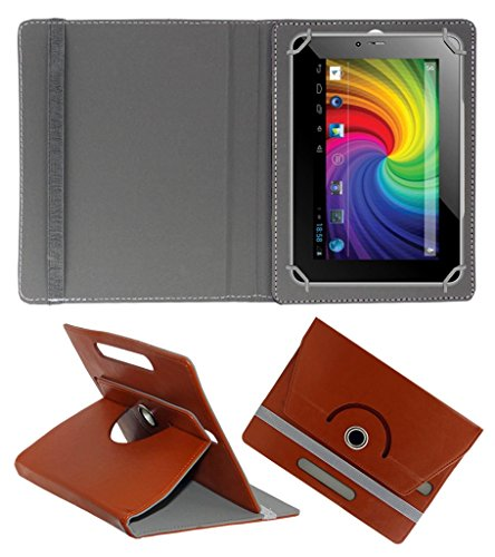 Acm Rotating 360° Leather Flip Case For Micromax Canvas P650e Cdma Tablet Cover Stand Brown  available at amazon for Rs.149