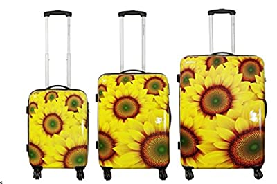 Sunflower Large Carbon/100% Pure Polycarbonate Hard Shell Suitcase Trolley Case by Bowatex