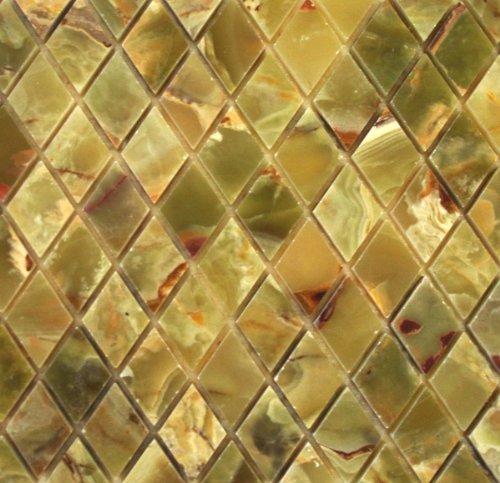Green Onyx Polished DIAMOND Mosaic Tiles Meshed on 12 X 12 Tiles for Kitchen and Bathroom Backsplash, Shower Walls, Bathroom Floors & Walls