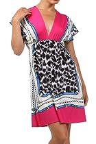 Modern Kiwi Leopard Colorblock V-Neck Kimono Dress Fuchsia Small