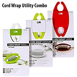 New Arrival - KM Set of 3 Cord Wraps (Small, Medium, Large) for Earphones, USB Cables, Laptop Cables