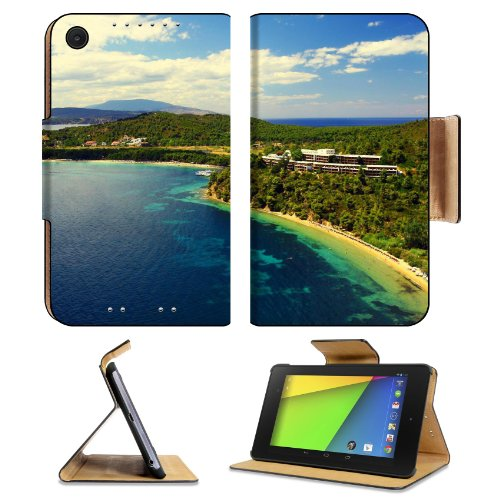 Greece Oia Santorini Sea Side Houses Asus Google Nexus 7 FHD II 2nd Generation Flip Case Stand Magnetic Cover Open Ports Customized Made to Order Support Ready Premium Deluxe Pu Leather 8 1/4 Inch (210mm) X 5 1/2 Inch (120mm) X 11/16 Inch (17mm) Luxla