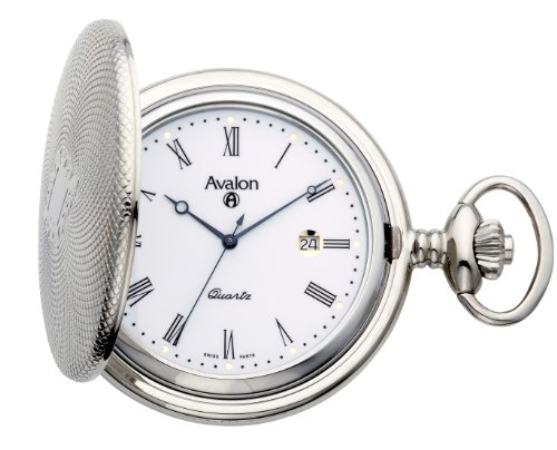 Avalon SilverTone Covered Pocket Watch Swiss Parts Date Movement with