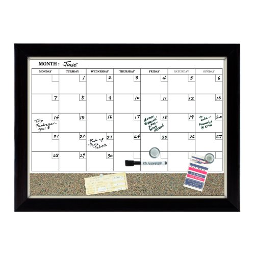 Quartet Magnetic Combination Board Calendar, 17 X 23 Inches, Dry-Erase And Cork, 1-Month Design, Wood Finish Frame, Assorted (79259)