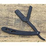 Straight Edge Barber Shaving Razor, Steel 8.5-Inch Matte Black Folding Straight Razor, Uses Single Edge Replaceable Blades