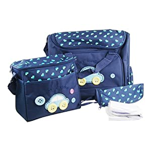 WPG 4pcs Dark Blue Cute As Button Embroidery Baby Nappy Changing Bags by SWT