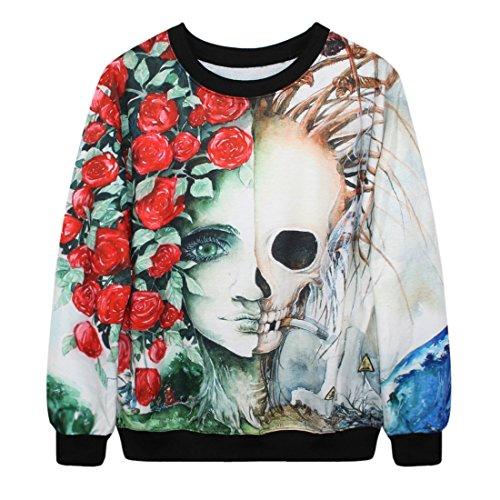 YICHUN-Maglietta Tops sottile maglioni felpe stampa pullover maglione casual Camicetta Skull and Rose 4# Taglia unica