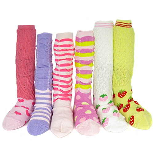 kf-baby-non-skid-ruffle-calf-socks-value-pack-set-of-6-pairs-for-girls-9-24-months