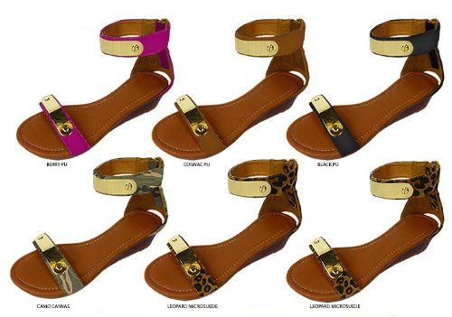 Ladies Ankle Sandals W/ Metal & Mini Wedge (36 Pieces) front-1013119
