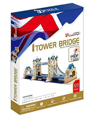 CubicFun Tower Bridge London UK 3D Puzzle metal diy nano 3d puzzle model tiger tank kids diy craft 3d metal model puzzles 3d solid jigsaw puzzle