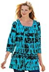 Woman Within Womens Plus Size Tunic Length Tie-Dyed Print Top