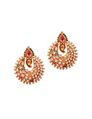 1.1⁰ By Xpressionss Gold Plated Chand Bali Earrings With Zirconia In Green And Red For Women F-XROE081405