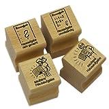 """Elbi Lehrerstempel Stempelset aus Holz: 4 x Hausaufgabenstempel (Hausaufgabe nicht gemacht, Hausaufgabe unvollst�ndig, saubere Hausaufgabe Junge / M�dchen) - K5von """"Elbi Verlag"""""""