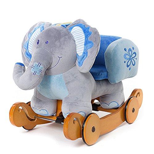 fa0807dc6c57a2 Labebe, Labebe -Enfants peluche cheval a bascule - Elephant bascule en bois  avec roulette (éléphant