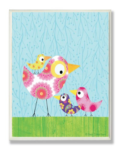 The Kids Room by Stupell Multi-Color Chickadees with Blue Sky Rectangle Wall Plaque