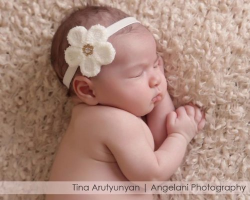 Beautiful Ivory Velvet Headband With Flower (3-6Months) front-1009987