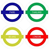 Clixicle Customized Travel Tube Places I've Been Round Coasters, Set Of 4