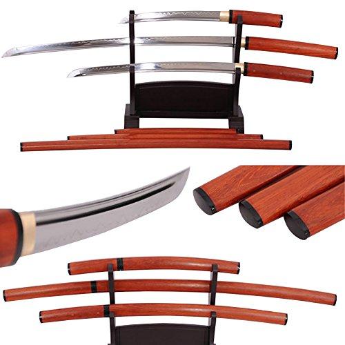 Lyuesword Japanese Samurai Hand Forged Functional Full Tang Sword T-10 High Carbon Steel Clay Tempered Katana Wakizashi Tanto Set 3