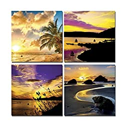 Elvoes Art Modern Artwork Contemporary Wall Art Sea Beach Picture to Photo Canvas Prints for Home Decor