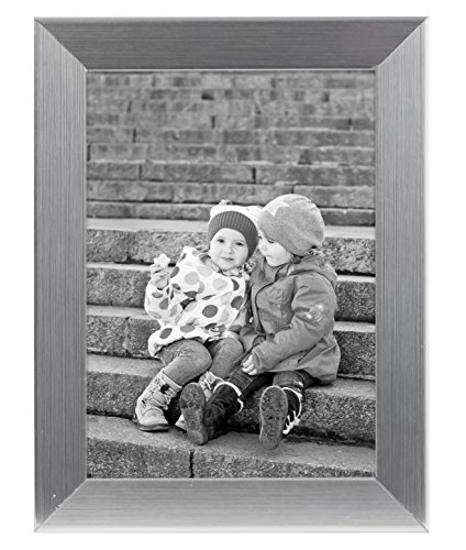 5x7 Silver Picture Frame - Made to Display Pictures 5x7 - Real Glass - Standing Hardware Included (Picture Frame Display compare prices)