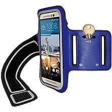 buy Igadgitz Reflective Anti-Slip Blue Sports Jogging Gym Armband For Htc One M9 (2015) With Key Slot