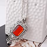 YSTD® Vintage Fashion Isabelle Lightwood's Ruby Silver Pendant Necklace Chain