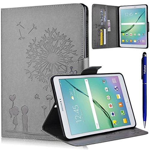Samsung Galaxy Tab S2 9.7 T815 / T810 Cover, Yotaka PU Case Flip Libro Ultra Sottile Leggero Retro Custodia Dandelion Motivo Antiurto Custodia Portafoglio Con Supporto Magnetica Protettiva Elastica Wallet Custodia 1*Penna Stilo - Grigio