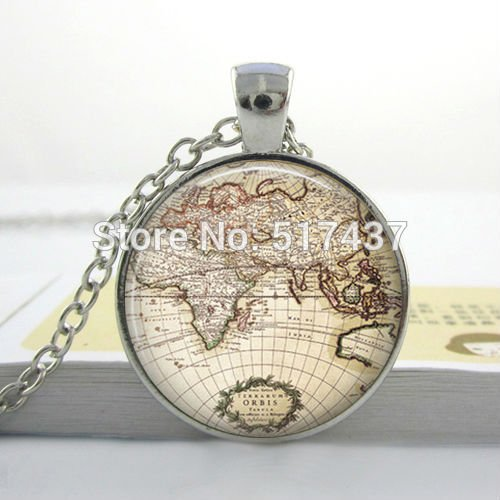 Desertcart oman pretty lee buy pretty lee products online in oman pretty lee free shipping glass dome vintage globe necklace vintage world pendant world map jewelry keepsake map pendant gumiabroncs Image collections