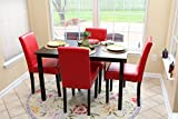 5 PC Red Leather 4 Person Table and Chairs red Dining Dinette - Red Parson Chair