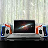SonaVERSE O2i Glowing PC Gaming Computer Speakers w/ USB Plug-n-Play Design - Works great w/ World of Warcraft DoTA Diablo Call of Duty the Elder Scrolls Online & More - Incl. Cleaning Kit