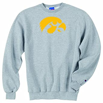 Champion NCAA Unisex Adult Iowa Hawkeyes Powerblend Crew (Grey, Large) by Champion
