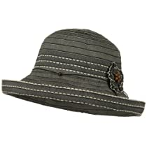 Flower Ribbon Wide Turned Up Brim Hat - Black