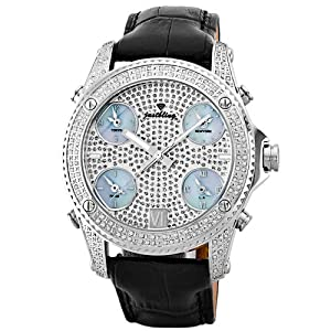 "JBW Men's JB-6244-E ""Jet Setter"" Five Time Zone Diamond Stainless Steel Black Leather Watch"