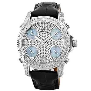 "JBW Men's JB-6244-E ""Jet Setter"" Five Time Zone Diamond Stainless Steel Black Leather Watch"
