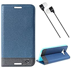 DMG Samsung Galaxy A8 Flip Cover, DMG PRaiders Premium Magnetic Wallet Stand Cover Case for Samsung Galaxy A8 (Pebble Blue) + Black Stereo Earphone with Mic and Volume Control