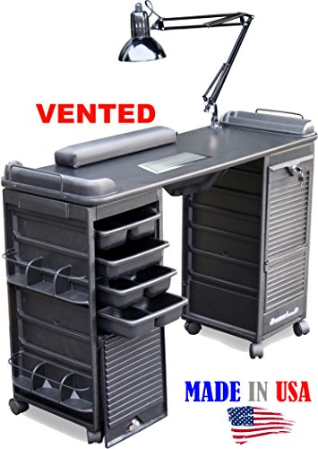 B607 VENTED Filtered Manicure Nail Table Double Lockable Cabinet Black Top by Dina Meri (Dina Meri Manicure Vented Table compare prices)