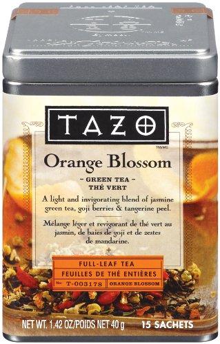Tazo Orange Blossom Full-Leaf Green Tea, 15-Count Tea Bags (Pack of 2)