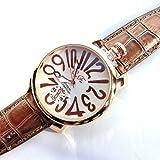 ブラウン×ホワイト(A) トップリューズ式ビッグフェイス腕時計 プレーンタイプ47mm GaGa MILANO ガガミラノ好きに(全4色)