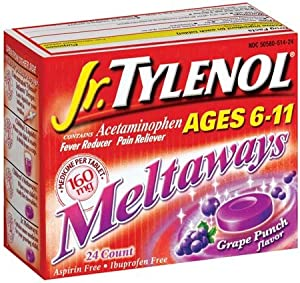 Jr. Tylenol Fever Reducer/Pain Reliever Meltaways, Grape, 24 ct