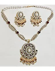 Maroon And White Bead And Stone Studded Necklace With Earrings - Stone, Bead And Metal