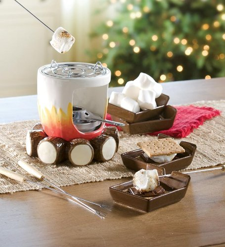 Check Out This Ceramic Log and Fire Designed S'mores Maker with Sticks and Plates