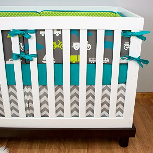 Modified Tot Crib Bedding, Vroom Vroom