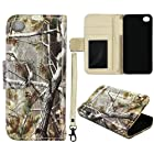 Camo Pine Camo Flip Wallet Apple Iphone 5, 5S Leather Pouch With ID Slot at&t. Verizon, Sprint, C Spire Case Cover Hard Phone Case Snap-on Cover Protector Rubberized Touch Faceplates