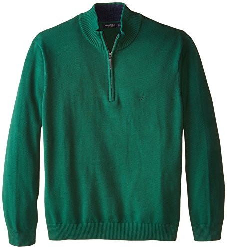 Nautica Men's Big-Tall 1/4 Zip Sweater, Hunter Green, 3X-Large/Tall