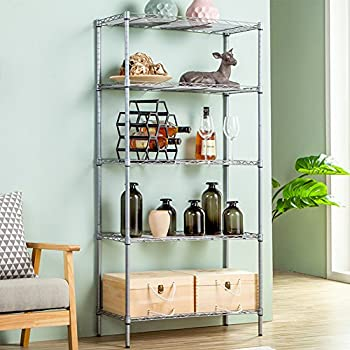 JS HOME 5-Tier Wire Shelving Unit Heavy Duty Storage Organizer , Silver