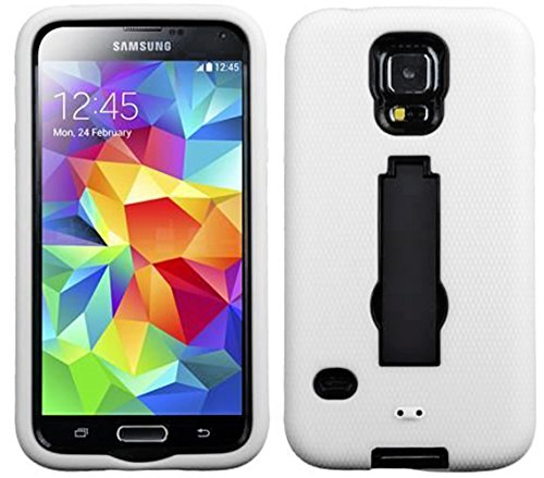 Mylife Bright White And Dark Midnight Black - Shock Suit Survivor Series (Built In Kickstand + Easy Grip Silicone) 3 Piece + 2 Layer Case For New Galaxy S5 (5G) Smartphone By Samsung (External Flex Silicone Bumper Gel + Internal 2 Piece Rubberized Snap Fi